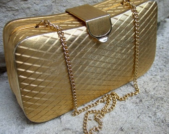 Elegant Gilt Metal Evening Bag Made in Italy c 1970