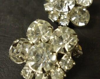 vintage rhinestone earrings clip ons