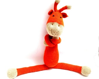 Stuffed animal Knitted GIRAFFE toy crochet toy Amigurumi animals, crochet animals, natural toy natural animal eco toys soft giraffe plush