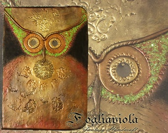 Owl Journal Woodland Notebook Animal Coquette Owl collection Night wood owl real sketchbook polymer clay fantasy idea gift Mom Girl