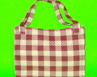 LAST ONE! Cherry Red Gingham Plaid Printed Rockabilly Classic Handbag Purse