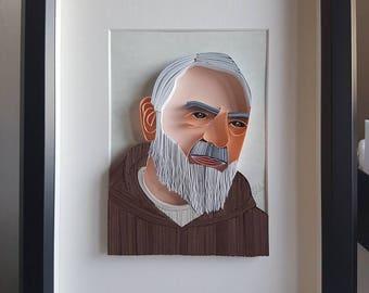 """""""Padre Pio"""" quilling art Panel"""