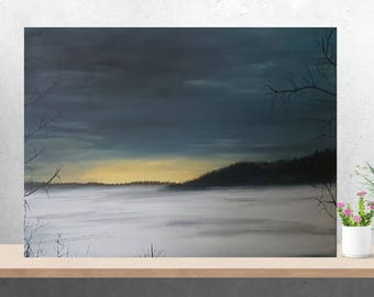 Original landscape painting on canvas trees frozen lake ice winter tree woods night sky gifts for men wall art sunset ice fishing canada