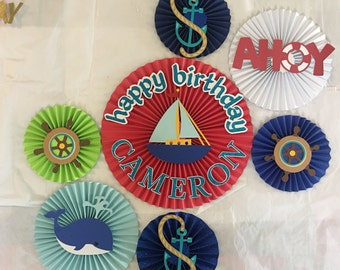 """7 nautical  paper rosette backdrop """"Happy birthday """" personalized"""