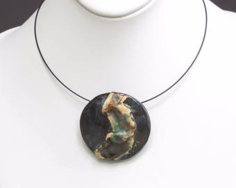 Round Black Ceramic Pendant Rustic Contemporary Clay Choker One-Of-A Kind Abstract Pottery Necklace Wearable Fine Art Modern Statement