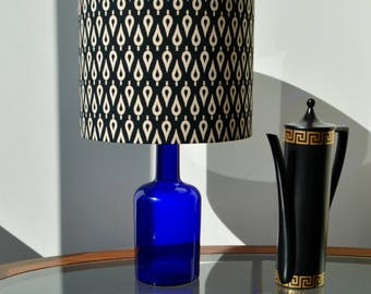 Matico Geometric Lampshade, Indian Print Lampshade, Retro Style Drum Shade, Contemporary Print, Black and Cream