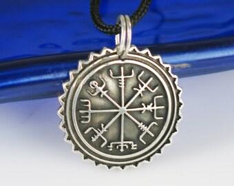 SALE 20% - Viking Vegvisir Nautical Compass Protection Sterling Silver Pendant - Celtic Keyring - Mariner - Viking Compass Silver Gift