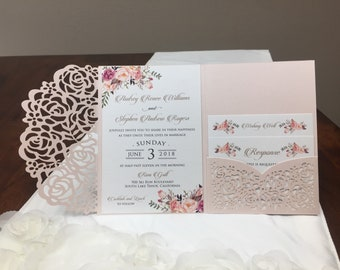 Gorgeous Laser Cut Wedding Invitations Pocket Wedding invitation Die Cut Laser Cut Jacket Traditional Navy Blush Purple Shimmer Laser Cut