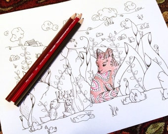 King Fox Fairy Tale Fantasy Adult Coloring Page Kids Original Art Therapy Whimsical Woodland Forest