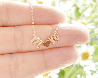 Initial Heart Necklace, Lower case Initial Necklace, Rose gold Cursive initial Necklace, Wedding gift,Girlfriend,Her gift