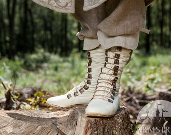 "Men's Medieval Fantasy Boots ""Forest Prince""; High Shoes; High Leather Boots"