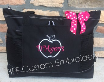 Personalized or Monorammed Teacher Tote Lots of Colors to Choose from Makes a Great Gift
