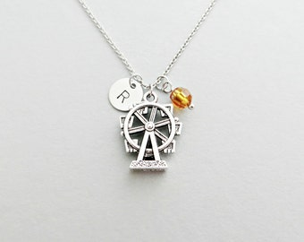 Ferris Wheel Initial Necklace Personalized Hand Stamped - with Silver Ferris Wheel Charm and Custom Bead