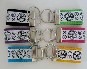 Peace Mini Key Fob - Peace Zebra Keychain -  Mini Groovy Key Chain - Luggage Identifier - Handmade Key Ring - Ready to Ship