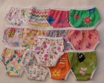 """3 Pair Panties in Print fit American Girl 18"""" doll and similiar, Print, Solids"""