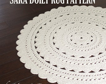 "Crochet Doily Rug Pattern - ""SARA"" 37 inch rug - PDF"