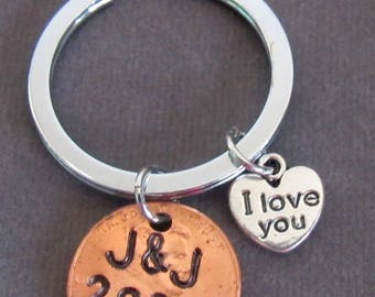 Anniversary Penny Keychain,Couple Lucky Penny Keyring,Personalized ,Couples  Keychain,Date Keychain, I love you keychain, Free Shipping USA