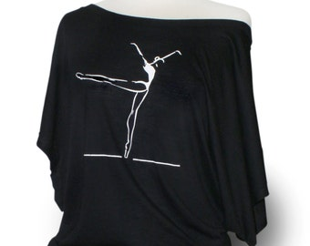 "Ballet Shirt. Dance Shirt. Ballet Top. Dance Top. Black. Ballet leotard coverup.  Short Sleeve. ""Piqué to Arabesque"" ."