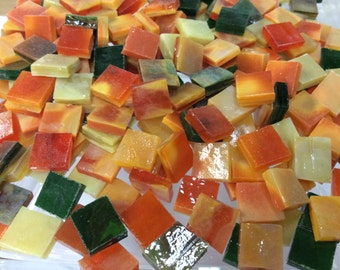 "PUMPKIN HARVEST GARDEN 3/8"" Tiles Stained Glass Mosaic Supply B42"