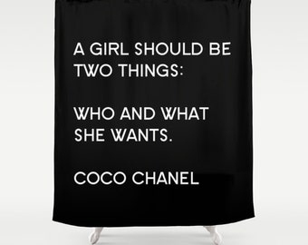 Inspirational Shower Curtain, Girls Bathroom Decor, Designer Shower Curtain, Black and White, Fabric Shower Curtain, Gifts for Her