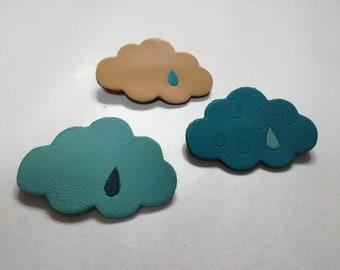 Leather cloud brooch