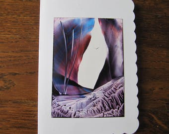Purple cliffs original Encaustic Painting greeting card