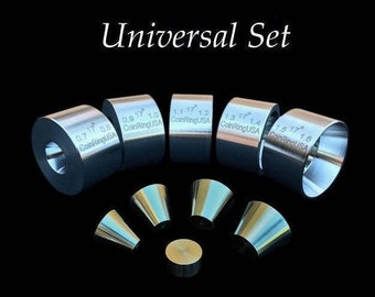 "FULL COMBO SET! 5 Universal Folding/Reduction Dies (.7"" - 1.6"" inch @ 17-Degrees) and Stainless Steel Stabilizer Folding Cones!"