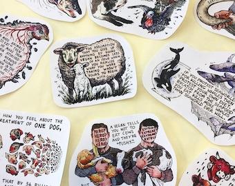 Vegan Quote Activism Sticker Pack (x10 designs)