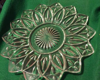 """Vintage Glass Serving Tray 9 1/4"""""""