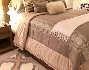 Custom rustic bedding, neutral colors