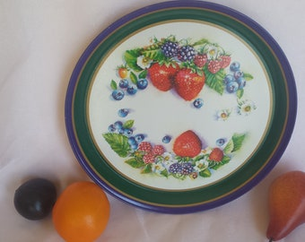 """Metal Serving Tray with Colorful Summer Fruit Design 12"""" Diameter"""