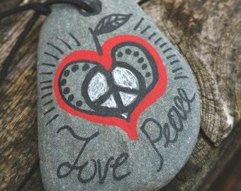 Heart Apple Love Peace Handpainted Pebble Pendant