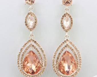 Bridal Blush Earrings,Rosegold Chandelier Tear Drop Earrings,Crystal Teardrop Earrings,Bridesmaid Wedding Gift Jewelry,Rose Gold Earrings