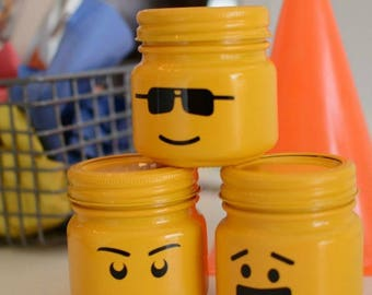 Lego Head Mason Jars - FREE SHIPPING!