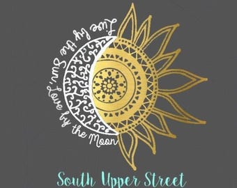Moon and Sun Decal #2  | Moon and Sun Decal | Live by the sun | Love by the moon  Decal | Car decal | Yeti tumbler decal