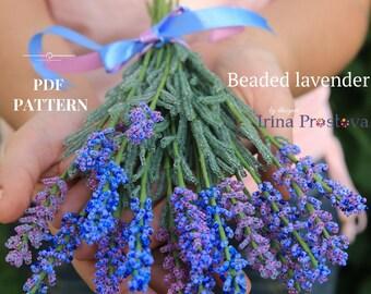 PDF PATTERN Beaded Flower Tutorial Lavender Seed Bead Tutorials DIY Flower How To Make Flowers Tutorial Master Class Seed Bead Pattern
