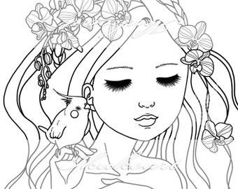 Line Art Digital Stamp Image Adult Coloring Page Printable Instant Download - Orchid Girl