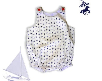 Off white nautical boat baby romper