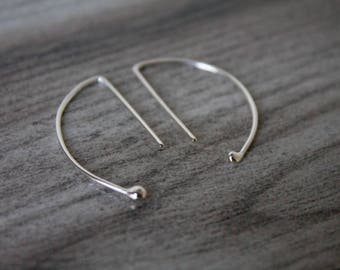 Archery Earrings - Hoop Earrings - Dainty Earrings - Sterling Silver Earrings - Simple Everyday Earrings - Half Moon Hoop