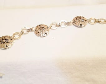 Sand dollar bracelet silver colored metal
