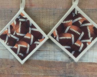 Football Pot Holders - Man Cave Gift - Football Party - Quilted Pot Holders - Kitchen Hot Pads - Gifts under 20 Dollars - Set of 2