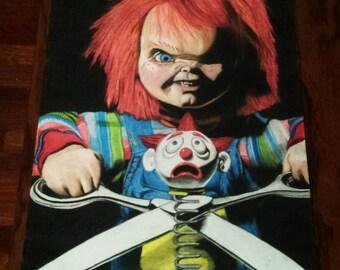"Chucky childs play 2 original drawing prismacolor pencils A3 42x30cm / 16 × 12 """