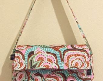 Messenger Sling Hand Bag or Tote | Amy Butler Hapi fabric | Pink Teal Ready to ship