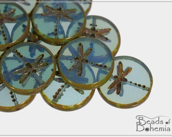 4 pcs Transparent Blue/Green Opal Picasso Czech Glass Table Cut Dragonfly Coin Bead 17 mm (9222)