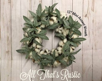 Cotton and Sage Wreath, Cotton Wreath, Greenery Wreath, Cotton Boll Wreath, Accent Wreath, Cotton with Greenery, Farmhouse Decor, Wreath