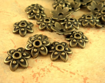 50 Antique Bronze Bead Caps Antique Flower Tibetan Style LF/NF/CF 9mm - 50 pc - F4060BC-AB50