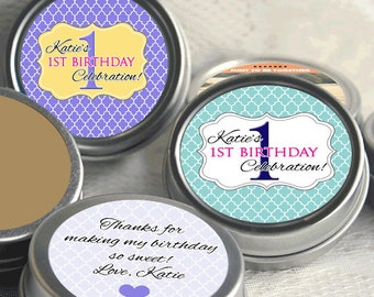 12 Birthday Candy Favors - First Birthday Party Sticker - Turning One - Candy Favors - Personalized Birthday Favors - 1st Birthday - First