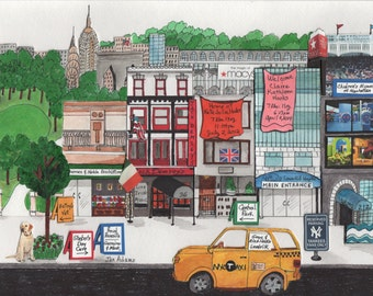 "NEW BABY- NYC - Watercolor Painting Collage *** Example 1 ***  16"" x 20"" *** Double Matted *** Contact Artist If Interested"