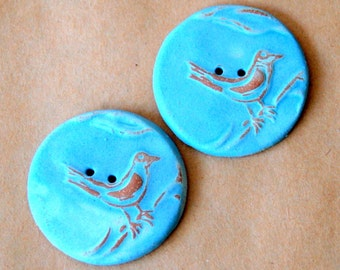 2 Extra Large Bird Buttons in Rustic Sky Blue