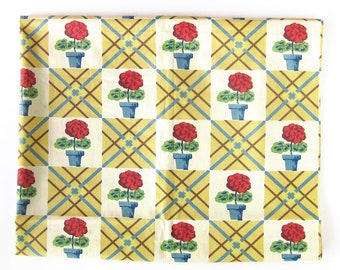 """Vintage FABRIC - 40s 50s Cotton - FLOWERS Flowerpots / Checkerboard Plaid in Yellow, Blue and Red / Puritan Print / 34"""" Wide"""